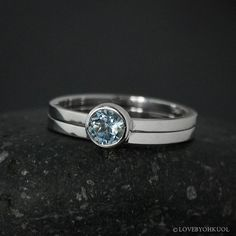 Round Aquamarine Engagement Ring Set – Choose Your Setting The ideal wedding set for the modern, simple bride, this round aquamarine engagement ring comes with a matching wedding band to bring you from Wedding Matches, Wedding Sets, Wedding Rings, Engagement Rings For Men, Engagement Ring Settings, Thing 1, Fine Jewelry, Jewellery, Minimalist Wedding