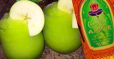 Peach Drinks, Summer Drinks, Green Alcoholic Drinks, Alcoholic Shots, Bourbon Drinks, Fruity Drinks, Fun Drinks, Apple Crown Royal Drinks, Slush Recipes