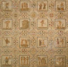 Scarica - Antico mosaico romano che rappresenta delle figure delle stagioni e dei mesi dell'anno — Immagini Stock #22502325