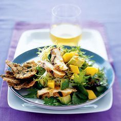 Grilled Chicken Salad With Avocado and Mango   This ultra-low-calorie salad is full of rich flavor. The tangy mango and subtly savory avocado combine to create a lighter lunch. Plus the mango-soy sauce dressing adds the perfect kick.  Ingredients: Olive oil, limes, mango chutney, soy sauce, ginger, chicken breast, cooking spray, salad greens, mango, avocado Calories: 185.