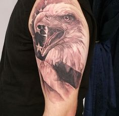 Realistic Eagle and US Flag Tattoo done by Rafael at Blue Velvet Tattoo in Langhorne PA