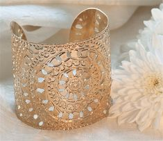 Rose Gold cuff circles moroccan henna design by KelkaJewelry, $135.00