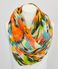 Orange Ikat Infinity Scarf by Leto Collection #zulily #zulilyfinds