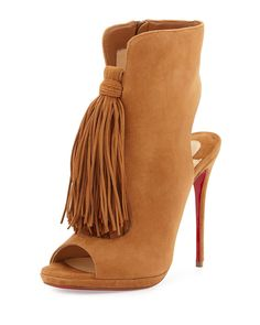 fake louboutin - Christian Louboutin Fringed Suede Booties | My Womens Style ...