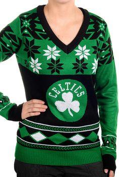 Boston Celtics - Ladies V-Neck Winter Sweater