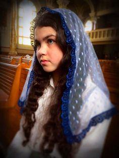 Church Veil, Blue Lace Mantilla for Mass, Mantilla Veil, Catholic Mantilla, Lace Veil for Mass, Catholic Veil, Church Mantilla, Mantilla