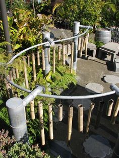 Amazing music garden in the childrens garden at the San Diego Botanical Garden aka Quail Gardens. Bamboo chimes!