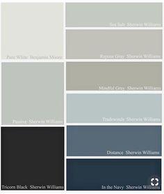 Sherwin Williams Sea Salt, Sherwin Williams Gray, Passive Sherwin Williams, Mindful Gray, Sierra Vista, Repose Gray, Coordinating Colors, Pure White, Paint Colors