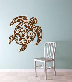 TRIBAL TURTLE  Version 3  Wall Decal Sticker Art Graphic Turtles Hawaiian Hawaii