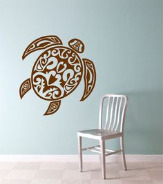 TRIBAL TURTLE  Version 3  Wall Decal Sticker Art Graphic Turtles Hawaiian Hawaii