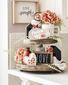 Valentines Decor Using Tiered Trays, Farmhouse Signs and Rae Dunn - Farmhouse valentine decor - Diy Valentine's Day Decorations, Valentines Day Decorations, Valentine Day Crafts, Decor Ideas, Decorating Ideas, Homemade Valentines, Romantic Valentines Day Ideas, Saint Valentin Diy, Valentines Bricolage