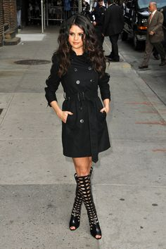 Selena Gomez in NYC _ Burberry coat & Brian Atwood cutout boots