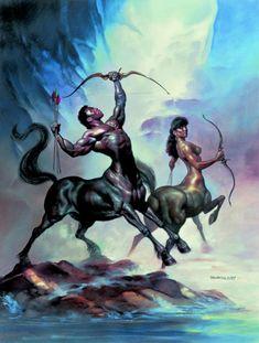 Boris Vallejo and Julie Bell - Centaur Couple. Julie Bell, Boris Vallejo, Mythological Creatures, Mythical Creatures, Art Zodiaque, Bell Art, Zodiac Art, Sagittarius Zodiac, Zodiac Compatibility