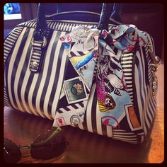 A Bendel scarf and classic barrel is a great combination!  Follow us on Facebook: https://www.facebook.com/westfieldvalleyfair