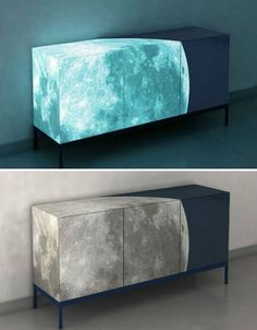 *FULL MOON SIDEBOARD* Not only does this gorgeous sideboard feature a stunning digital image of the moon over three-quarters of its surfaces, but it was also treated with glow-in-the-dark paint and ecologically friendly dark blue paint to create a heavenly effect at night. The sideboard was designed by Sotirios Papadopaulos for ENNEZERO and displayed in Milan in 2008... TOO COOL