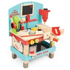 The My First Tool Bench Set from the Le Toy Van painted wooden playsets range. A fun, brightly painted wooden tool bench complete with powertools. All Toys, Toys For Boys, Kids Toys, First Birthday Gifts, First Birthdays, Birthday Ideas, Van Kitchen, Vans Kids, Imaginative Play