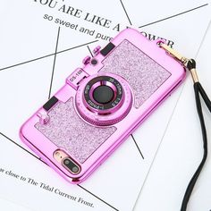 Fashion Camera Phone Cases For Iphone 7 6 6S Plus Case Luxury Electroplating Soft Back Cover With Stand Holder Mirror Lanyard