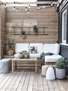 Outdoor Spaces, Outdoor Living, Outdoor Decor, Outdoor Walls, Outdoor Sofa, Wooden Panelling, Design Jardin, Backyard Patio Designs, Online Furniture Stores