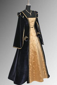 Medieval Renaissance Dress Gown Handmade from Velvet and Brocade, Many Colors | eBay