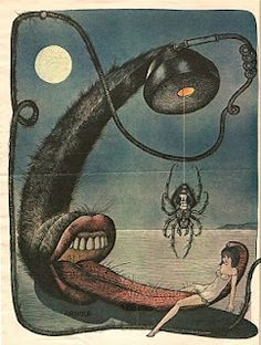 "Hans Arnold Illustration from the paper ""SE""-- This is how I feel about the phone. Creepy Horror, Sci Fi Horror, Poster Maker, Illustration Artists, Surreal Art, Kitsch, Drake, Vintage Art, Illustrators"