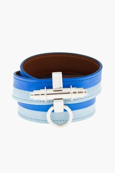 GIVENCHY Blue two-tone leather Obsedia Wrap Cuff