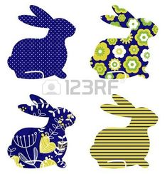Spring patterned bunny collection Vector Stock Vector