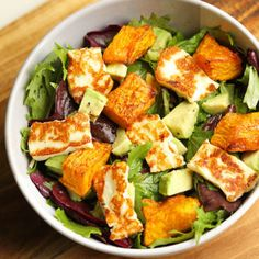 pumpkin, haloumi and avocado salad