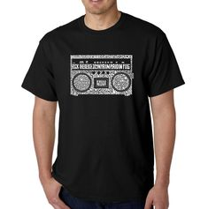 Los Angeles Pop Art Men's Big & Tall Word Art T-Shirt - Greatest Rap Hits of The 1980's, Size: