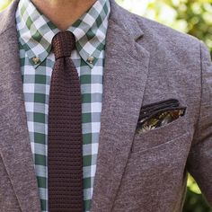 Spring patterns - Fall palette -Blazer - Shirt - Knit Tie - Pocket Square - #mensstyle