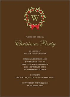 Preppy Christmas Party Invites, love the brown, green and red color scheme