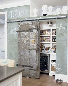 Chalkboard and sliding door pantry
