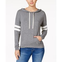 Hippie Rose Juniors' Striped-Sleeve Hoodie (690 MXN) ❤ liked on Polyvore featuring tops, hoodies, grey combo, gray pullover hoodie, hooded pullover, grey hoodies, grey hoodie and hoodie pullover