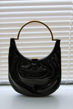 1950's Black Lewis Patent Leather Purse with Comb by CelinesAttic