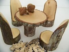 1000 ideas about tree stump furniture on pinterest - Tree trunk table and chairs ...