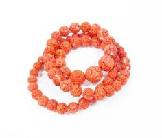 Vintage Chinese Carved Salmon Coral Bead Necklace