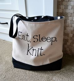Knitting Canvas Tote, Knitting Project Bag, Knitting Bag #knittingbagsandorganizers  I love take along projects. I keep myself organized with a bag for every project. Knit in style.