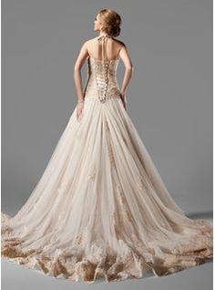 A-Line/Princess Halter Chapel Train Satin Tulle Wedding Dress With Lace Beading (002000154) - JJsHouse