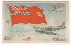 RCAF Royal Canadian Air Force Aircraft Fighter Plane WWII Flag Canada postcard   eBay Canadian Things, Historia Universal, Air Force Aircraft, Canadian History, Battle Of Britain, Military Art, World War Ii, Wwii, Postcards
