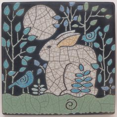 Rabbit, Bunny and Birds,6x6 raku fired art tile,handmade ceramic tile, home decor. $68.00, via Etsy.