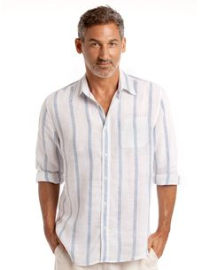 This linen shirt is built to an uncompromising cut and style.  Inspired by the sea, this blue and white striped shirt makes an ideal companion for any adventure.