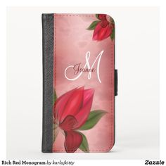 Shop Rich Red Monogram iPhone Wallet Case created by karlajkitty. Electronics Gadgets, Electronics Accessories, Cell Phone Wallet, Red Background, Dark Red, Initials, Custom Design, Bloom, Monogram