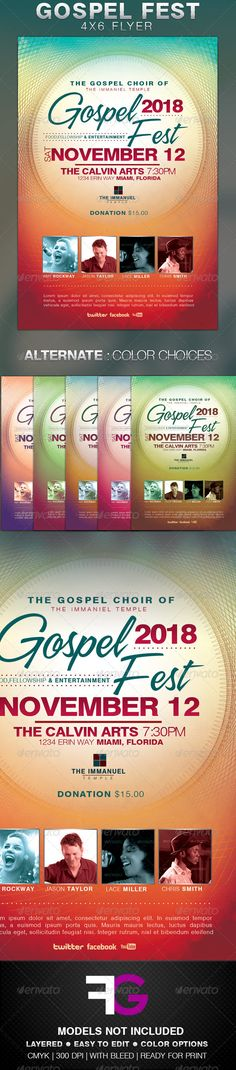 Buy This Gospel Fest Church Flyer Template by leliafore on GraphicRiver. Gospel Fest Church Flyer Template is made for gospel concerts or any other church events. Free Flyer Templates, Event Flyer Templates, Print Templates, Music Flyer, Concert Flyer, Concert Posters, Flyer Inspiration, Gospel Concert, Gospel Music