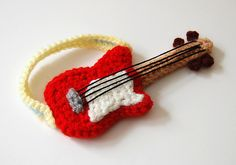 """""""Guitar Applique""""...Rock on! wish there was a free pattern, I could make it for a key chain for a gift"""