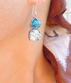 Roman Glass and Silver Earrings - Turquoise and Silver Unique Design – Roman Glass Jewelry shop