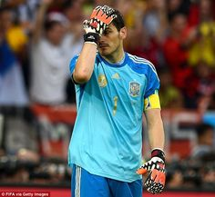 Calamity: Iker Casillas was again at fault as Spain went down 2-0 to Chile on Wednesday...