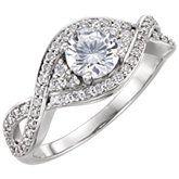 Diamond Semi-mount Pave Twist Engagement Ring or Mounting