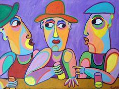 Schilderij Onder mannen van Twan de Vos, mannen in gesprek aan de bar