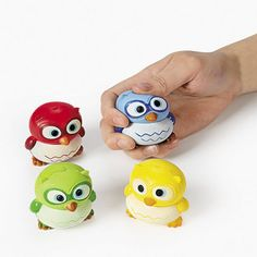 Owl Relaxable Squeeze Balls :  They make fun giveaways at kids' parties or office desk toys! Each 5.7 cm foam ball begs to be squeezed!