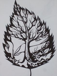Amazing Leaf Tree Tattoo idea...to symbolize learning to live successfully through life changes.- this is a neat idea!