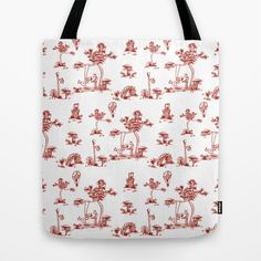 Red Toile Unicorn Tote Bag by That's So Unicorny - $22.00